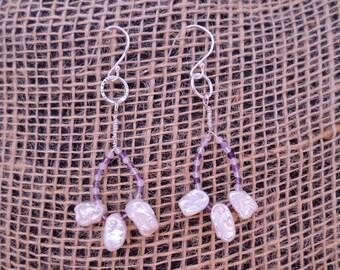 Keshi Pearls with Fluorite Loop Sterling Silver Earrings