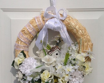 White flower wreath - white floral wreath - white spring wreath - shabby chic wreath - white front door wreath - birdhouse wreath decor