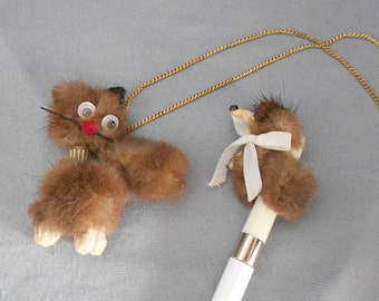 Vintage Child's NECKLACE, 1960s Mink CAT Necklace and Mink DOG Writing Pen / Fun Vintage Cat and Dog Children's Girls Necklace Jewelry Set