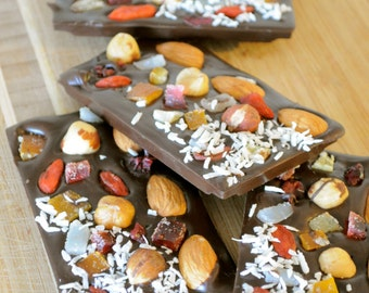 Chocolate bar, 72% dark chocolate, goji berries, nuts, 4 gourmet chocolate bars, healthy snack, energy bar, Gluten free