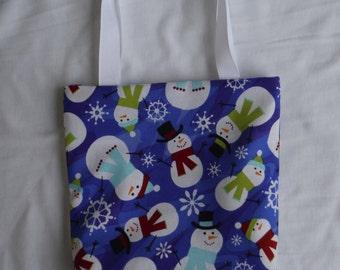Christmas Fabric Gift Bag/ Secret Santa Bag/ Holiday Goody Bag- Snowmen on Blue