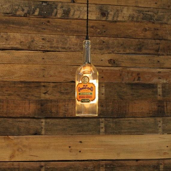 Old Grand Dad Bottle Pendant Light - Upcycled Industrial Hanging Light - Handmade Bottle Light Fixture, Dorm Lighting, Apartment Light