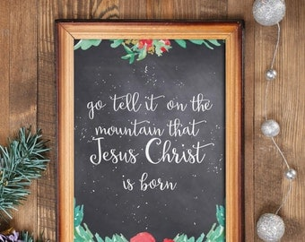 Christmas chalkboard printable, Christmas wall art, Instant download, Holiday art decor, Go tell it on the mountain, Holiday print BD-604