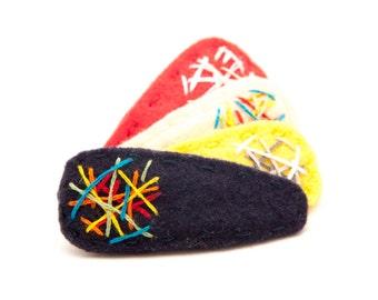 Graffiti Hair Clip Rainbow/Navy, Wool Felt Hair Clip, Baby Hair Clip, Toddler Hair Clip, Simple Hair Clip, Modern Hair Clip, Barrette, Kids