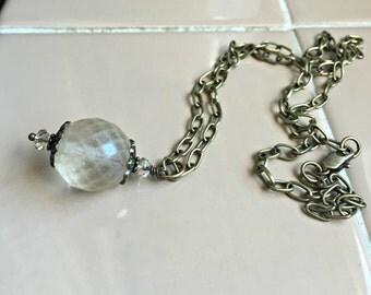 Czech Glass Ball Pendant, Brass and Czech Glass Necklace,  Vintage Style Pendant, Czech Glass Jewelry, Faceted Glass Ball Pendant
