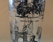 Yellowstone Centennial 1872 - 1972 vintage souvenir glass featuring Lewis & Clark, Buffalo Bill Cody, Theodore Roosevelt, Ulysses S. Grant