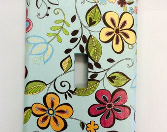Flower Light Switch Cover, Blue Floral Switchplate, Floral Switch Cover