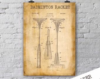 Badminton Racket Patent Print| 1937 Badminton Racket Poster| Sport Patent Print| Home Decor