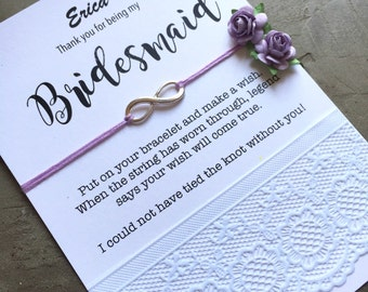 Personalized bridesmaids gifts, Bridesmaid bracelet, MOH bracelet, Bridesmaid gift ideas, Bridal party gifts, tie the knot bracelet B8A
