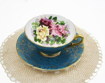 Vintage Stanley Teacup, Blue Teal Tea Cup and Saucer, Cabbage Roses, Gold Floral Chintz, Pink Purple Roses, Fancy Teacup, Collectible, Rare