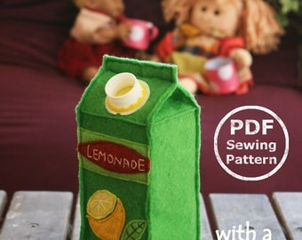 Felt Food Juice Carton PDF Sewing Pattern- Interactive Softie with real screw cap // Got Lemonade?