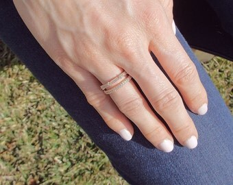 Rose Gold CZ Diamond Milgrain half eternity band rose gold plated ring Wedding band stacking ring