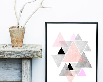 Pink Abstract Art,  Geometric Art Print, Printable Art,  Watercolor Triangles, Scandinavian Design, Home Decor, Wall Decor, Wall Art