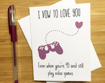 Cute Love Card for Video Game Lovers, Happy Anniversary Card, Love Greeting Cards, Romantic Card, Valentine's Day Card for Boyfriend