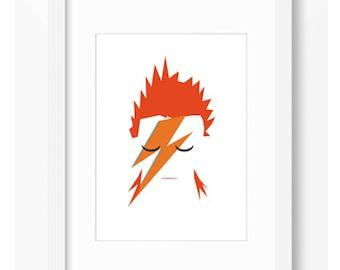 DAVID BOWIE ILLUSTRATION Ziggy Stardust Music Affiche Rock Star Art Decor Home