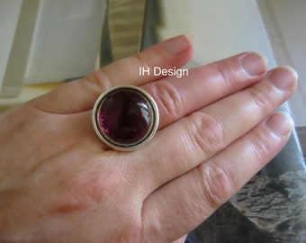 modern maintenance design glass ring Silver (choice of color)