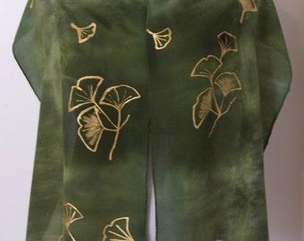 Ginkgo scarf, Fall scarf, Silk Woman's Scarf, Handmade Silk Scarf, Hand Painted Silk Scarf, Scarves