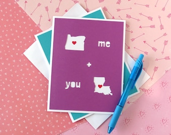 Personalized States Card - Long Distance Relationship - Boyfriend Girlfriend - Best Friend - Custom Gift - Missing You - Thinking of You