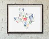 Texas State Print- State Flower, Fruit, & Bird Pattern