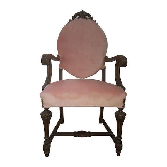 Antique Victorian Pink Velvet Arm Chair By Paintfabriccrafts