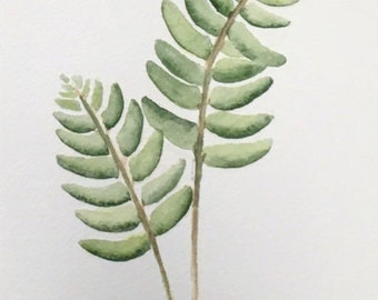Watercolor Botanical Fern leaves #4