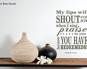 Bible Decal, Bible Wall Decal, Bible Verse Decal, Psalm Decal, Psalm 71:23 Decal, Bible Decal, Bible Wall Decal, Decal Life Co 0007