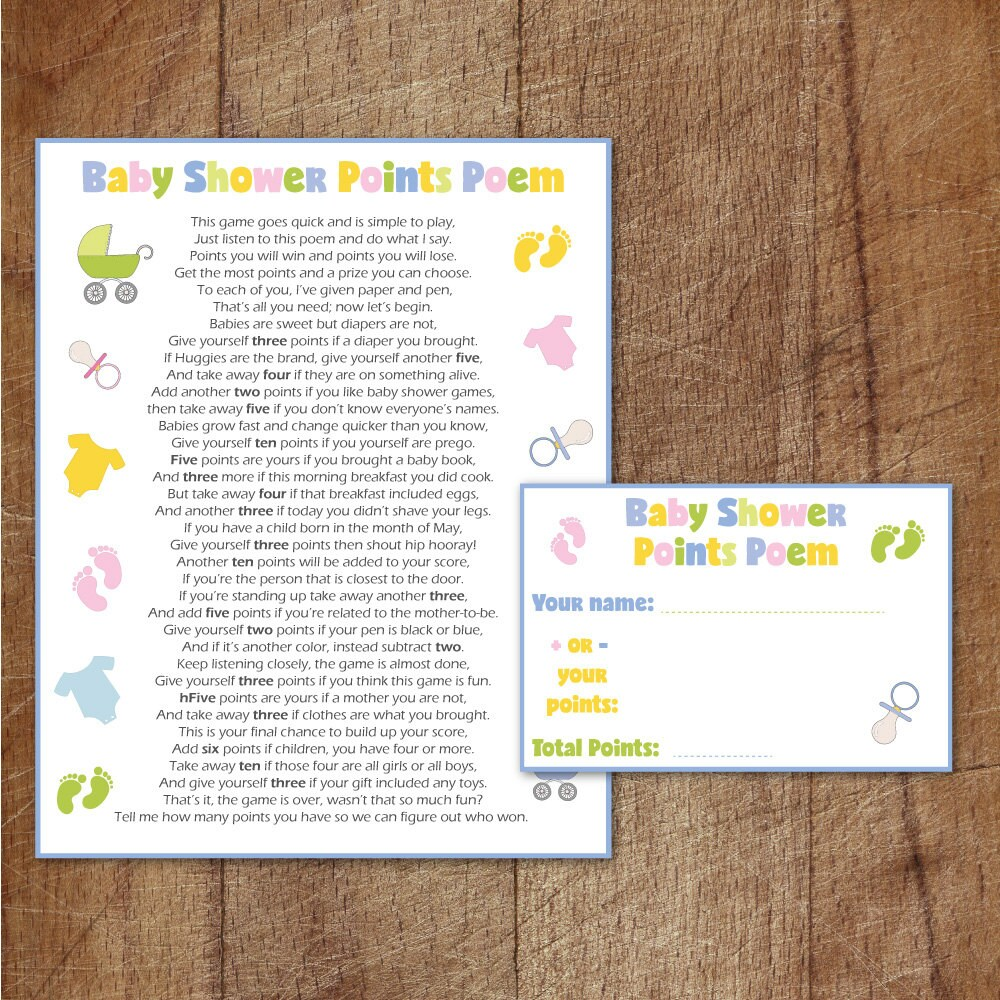 baby shower points poem printable game baby shower game etsy