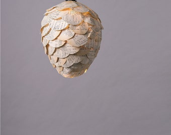 Unique Ceiling Paper Lamp, Handmade OOAK  pine cone Shaped Hanging Light, Old Book Upcycled Ceiling Lamp Shade, Housewarming Gift