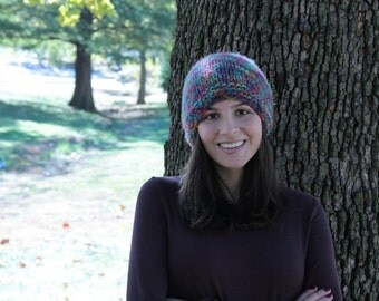 Multicolor Fuzzy Knitted Hat