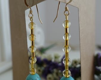 Citrine and Turquoise Bead Drop Earrings
