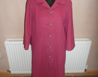 Vintage Red Wool Coat - 3/4 sleeves.  UK SHIPPING ONLY.