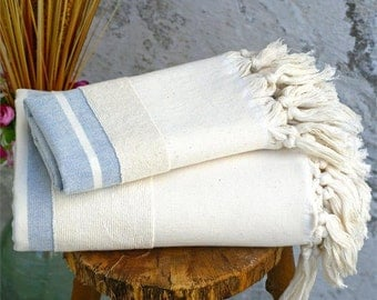 Set of 2,Turkish bath towel,Blue peshtemal,Hand loomed,Bath towel set,Spa towels,Natural,Traditional,100% Turkish Cotton