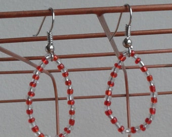 Red and White beaded earrings