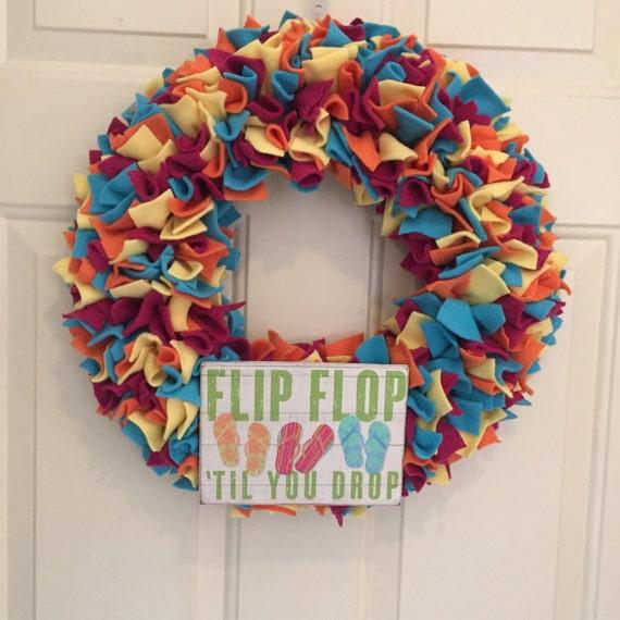 Flip flop summer wreath colorful wreath beach wreath rag for Colorful summer wreaths
