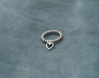 Sterling Silver Heart Dangly Charm Elasticated Bead Ring
