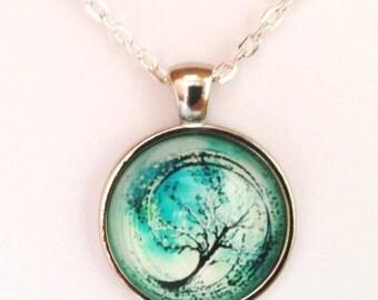 Divergent Tree Pendant Necklace, Antiqued Silver, Blue