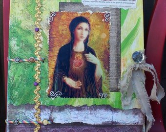Hand Made Love Book. Mother Mary Cover, Sunflower Cover on. Multi-Media Scrapbook or Journal. Funky, Fun. Extra Large