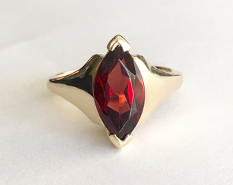 Vintage Garnet Ring, 14K Gold Marquise Solitaire Ring Size 5.75