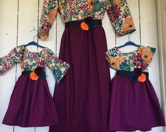 Plum Dress for Baby Girls Women back to school outfit matching family portrait outfits mommy and me dresses mother daughter match sisters