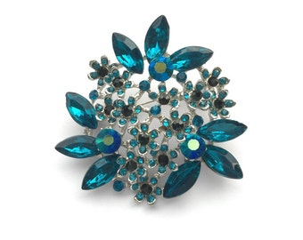 Teal blue Silver Rhinestone Brooch Crystal Brooch Wedding Accessories Bridal Brooch bouquet Hair comb Wedding Cake Brooch