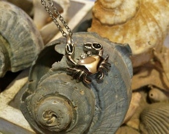 Stainless Steel Crab Cremation Jewelry Urn Necklace For Ashes | Ashes Necklace | Cremation Pendant | Urn Jewelry | Beach Lover Memorial 9259