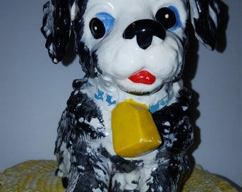 Adorable Vintage Puppy Dog Planter Bell Ceramic Crazing Mid Century CUTE!