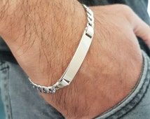 Personalized italian sterling silver 925 rhodium plated ID bracelet for men. Engravable name tag cuban link Bracelet Unique gift for men