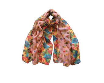 Floral Scarf, Womens Scarf, Gift for Her