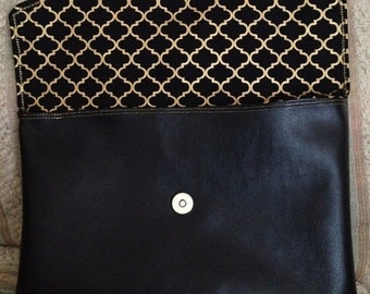 Medium Black Clutch with Black and Gold