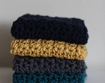 Knit Dish Cloths- Choose your color- dish cloth Cotton Dish Rag- Dish Towels- Wash Cloth - Set of 4 dish cloths, crochet dish cloth