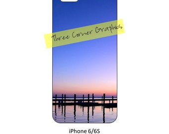 iPhone 6 printable river-side sunset photo case design; DIY print at home iPhone accessories for 6 or 6S