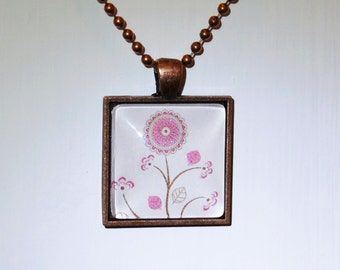 Pink Flowers Pendant Necklace