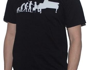 Evolution of Piano Player T-Shirt / Grand Pianist Musician Evolution of Man