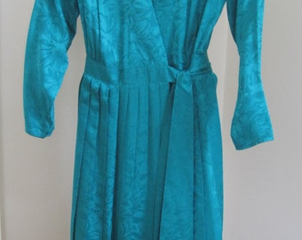 ARGENTI 100% Silk Dress, Pleated Skirt, Wrap-Around Style, Teal, Vintage 1980